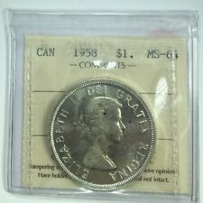 1958 Canadian One Dollar Coin  ICCS Graded;  MS-64
