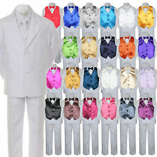 7pc Baby Toddler Boy White Formal Wedding Party Suit Tuxedo Vest Bow Tie sz S-7
