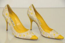 New Manolo Blahnik Yellow Leather Floral TEMENEUS 105 Shoes BB Heels Pumps 37