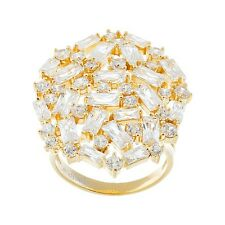 18K YELLOW VERMEIL-Radiant Dome Baguette 5A Cubic Zirconia Knuckle Ring-SS/925