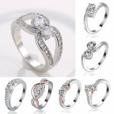 18K CZ Zirconia White Gold Filled Ring Round Wedding Engagement #7/8/9 Lady Hot