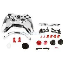 Chrome Silver Shell + Bullet Buttons Part For Xbox 360 Wireless Controller Set