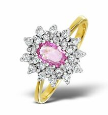 9k Gold 0.36ctw Diamond & Pink Sapphire Cluster Ring Sizes F-Z Made in London