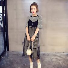 Women Crew Neck Short Sleeve Black Striped Loose Dress Ladies Casual Party Dress