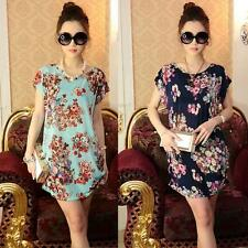 2016 Women Batwing Sleeve Loose Floral Mini Dress Casual T Shirt Beach Blouse