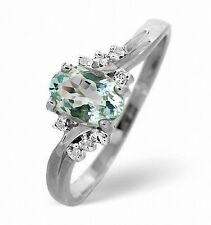 9K White Gold 0.03ct Diamond & 0.70ct Aquamarine Ring Size K-S Made in London