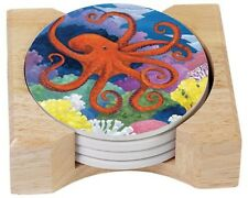 CounterArt Under the Sea Absorbent Coasters in Wooden Holder, Set of 4