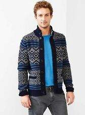 NEW MENS MEDIUM TALL MT GAP LAMBSWOOL REVERSE FAIR ISLE NORDIC MOCK SWEATER NWT