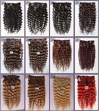 Any Length 7pcs 120g Curly Clip In Wavy 100%Real Human Hair Extensions Full Head