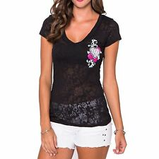 Metal Mulisha Maidens Flowers Burnout V-Neck Tee With Pink Hearts And Flowers