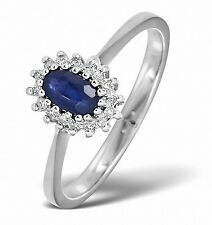 9K White Gold 0.05ctw Diamond  & Sapphire Cluster Ring Sizes F-Z Made in London
