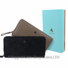 NEW Ladies Leather Zip-Around Large Purse Wallet by Visconti Gift Boxed Quilt