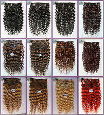 180g 8pcs Full Head Curly Wavy Virgin Remy Clip In Real Human Hair Extensions