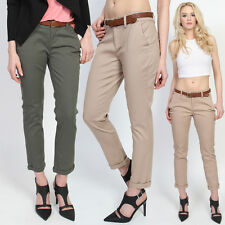 TheMogan Stretch Cotton Cuffed Cropped Chino Skinny Pants Casual Trouser