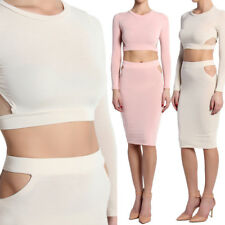TheMogan Cut Out Long Sleeve Crop Top Pencil Skirt Two Piece Bodycon Midi Dress