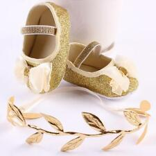 Baby Girl Flower Shoes Sneaker Anti-Slip Toddler Soft Crib Shoes+Free Hairband