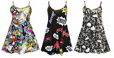 NEW LADIES CARTOON COMIC SKULL PRINT CAMISOLE STRAPPY SWING MINI DRESS SIZE 8-14