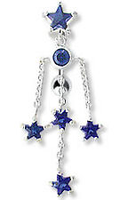 """14g 3/8"""" TOP DOWN BELLY RING STAR WITH CIRCLE GEM AND 4 GEM DANGLE STARS"""