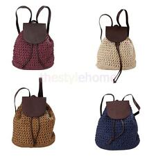 2016 Fashion Women Girl Straw Backpack Casual Summer Beach Shoulder Bag Rucksack