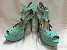 JUSTFAB Selene Suede Studded Sandals Open Toe Platform Stiletto Heels