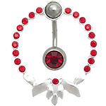 """14g 7/16"""" Tribal #2 Sterling Silver Navel Shield with Single Jewel Belly Ring"""