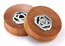 Saba Wood Plug with Steriling Silver Pagan - 12mm up to 40mm - Price Per 1