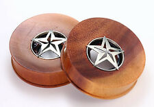 Saba Wood Plug with Steriling Silver Star -  12mm up to 40mm - Price Per 1