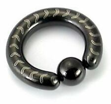 10g-4g Black Titanium-Coated Stainless Steel Captive Ring with Arrows