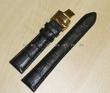 Black Genuine Leather Watch Band+Push Button Butterfly Deployant Clasp Buckle