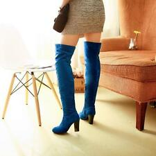 Women Winter block Heel Over The Knee Thigh High new Leg Faux suede Party Boots