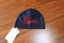 Lacoste Men navy blue Red reversible Jacquard wool Beanie hat  One size