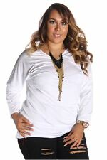 121AVENUE Classy Simple Long Sleeve Top 1X Women Plus Size White Long Sleeve