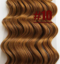 8pcs 170g Deep Wavy Hair Extensions Clip In Curly Remy Human Hair Golden Brown