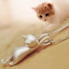 Women New Fashion 925 Silver lovely Cat Pendant Necklace Charming Jewelry P4U7
