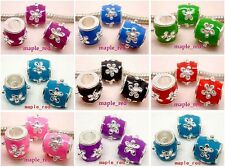 Fashion mixed Enamel Flower Stamped Spacer Beads for European Charm Bracelet