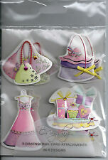 CUPCAKES, HANDBAG & SHOES - IN THE PINK 3D GIRLY GIRL DIMENSIONAL CARD TOPPERS.