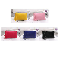 Women Zip PU Leather Clutch Lady Rhombic Handbag Wallet Purse Phone Card Coin