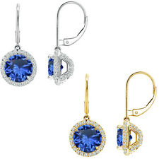 6mm Sapphire Round CZ Lever Back Halo Dangling 14K White/Yellow Gold Earrings