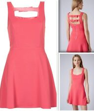 Topshop Ribbed Skater Dress - Pink Size 12 RRP £40  NEW