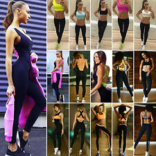 Womens Yoga Tops Vest Leggings Long Pants GYM Jumpsuit Stretch Sports Tracksuits
