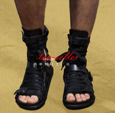 Gladiator Mens Gothic Leather Lace Up Boots Buckle Knight Roma Sandals Shoes New