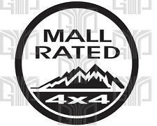 2 Jeep 4x4 Mall Rated Logo Spoof! Cut Vinyl Sticker Small to Large sizes.(QTY2)