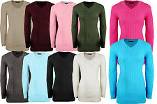Women Ladies V Neck Long Dress Winter Chunky Knitted Jumper Pullover Sweater Top