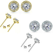6mm Cubic Zirconia Birthstone Gem Stud Halo Solitaire Round Silver Earrings