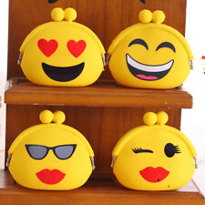 Cute Women Girl Mini Emoji Coin Purse Case Silicone Bag Wallet Handbag 10*7*3cm