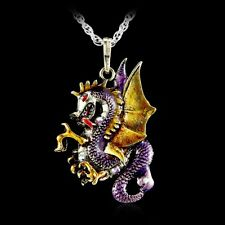 Crystal Dragon Necklace Pendant Handmade Jewellery Retro Fire Sweater Chain Accs