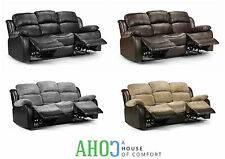 New Recliner 3 Seater Sofa Fabric Leather Lounge Manual Reclining Black Brown