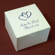 """Personalized White Wedding or Party Favor Candy Treat Box - 3x3x2"""""""