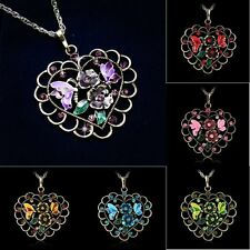 Retro Heart Hollow Out Rhinestone Crystal Flower Pendant Sweater Necklace Gift