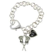 Custom Jersey Lacrosse Player Silver Heart Clasp Bracelet 50 Numbers Available
